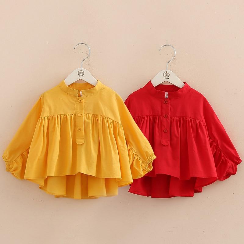 Kids Tops 2018 Spring Autumn New Fashion Baby Children Mandarin Collar Solid Color Long Sleeve School Girls Blouses Shirt