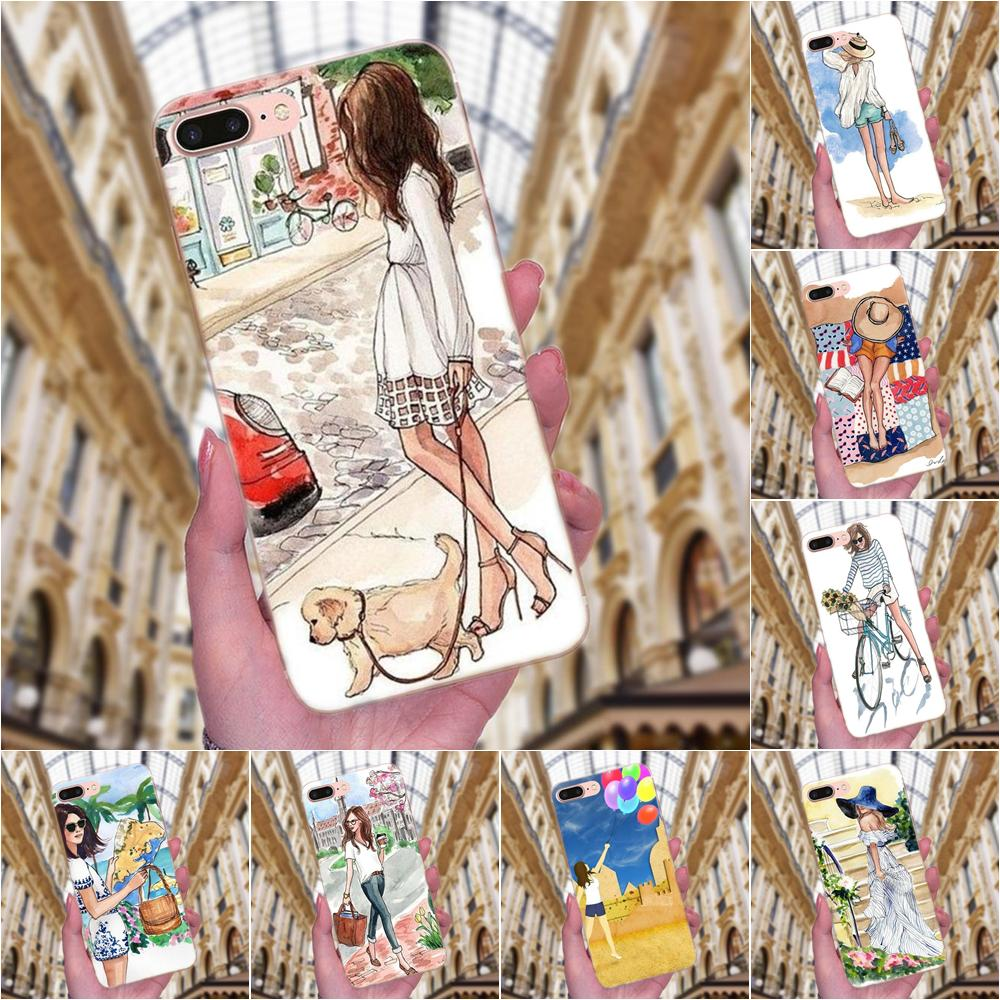 Hermosa chica viajar atractivo para Sony Xperia Z Z1 Z2 Z3 Z4 Z5 Mini compacto M2 M4 M5 T3 E3 e5 XA XA1 XZ Premium