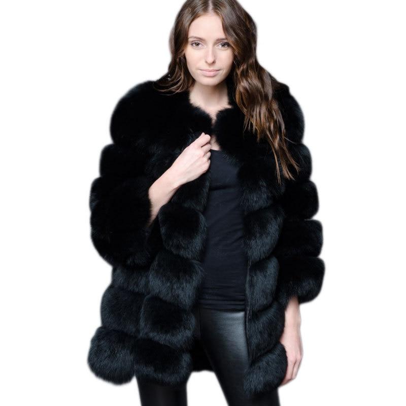 ZADORIN-abrigo largo de piel sintética para mujer, abrigo grueso y cálido de...