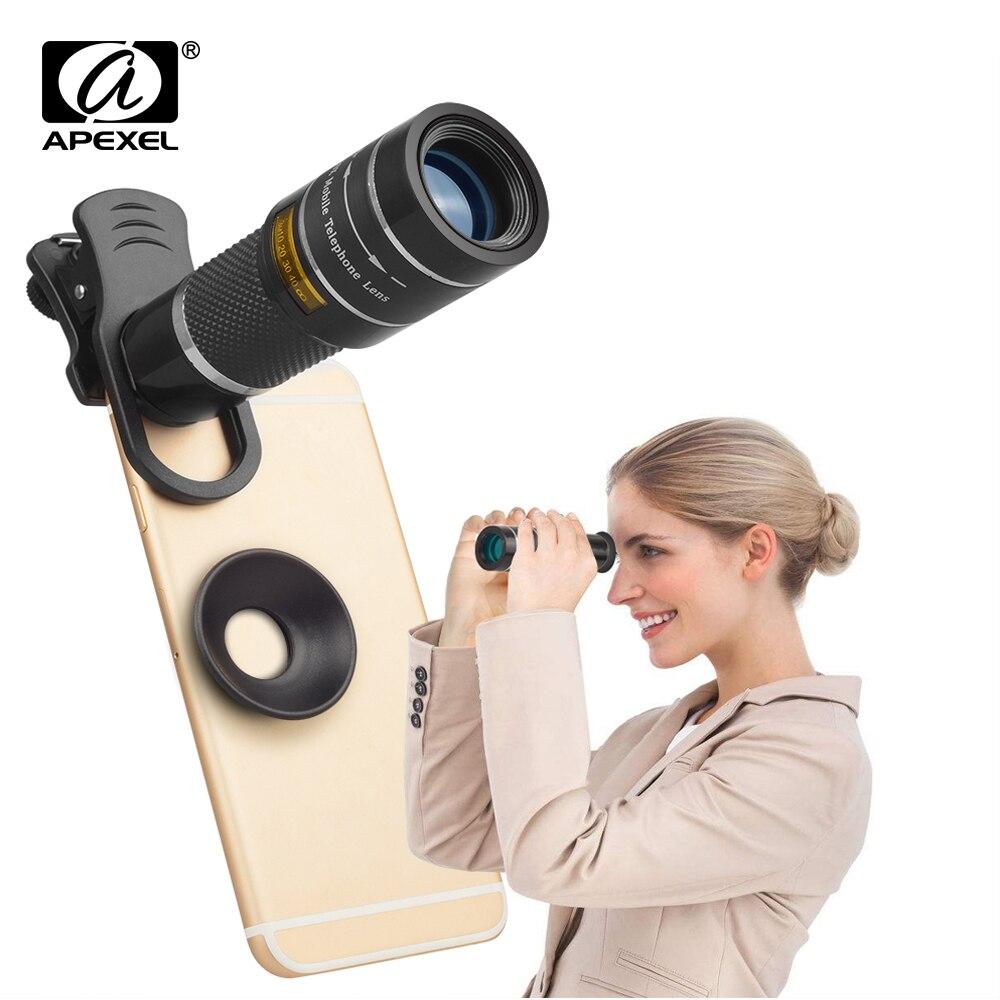 APEXEL lentes de teléfono móvil 20X telescopio Zoom lente de cámara monocular para iPhone x 7 8 6 plus Samsung s8 Note 8 para Xiaomi HTC