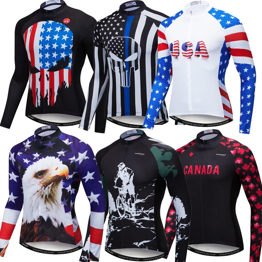 2020 USA Pro Team camiseta reflectante de Ciclismo de manga larga para hombre MTB Ropa de bicicleta Ropa Ciclismo Canada Road Bike Jerseys
