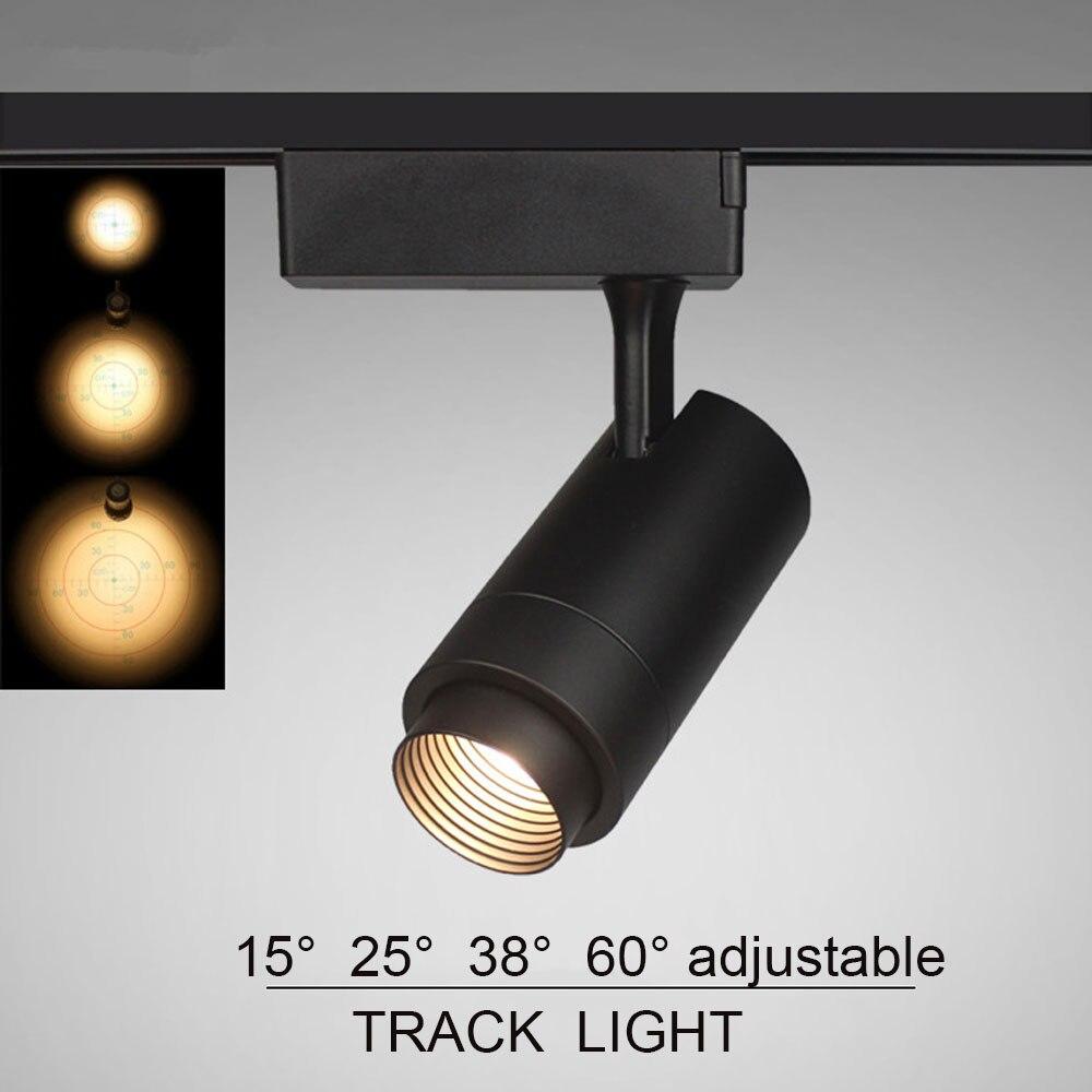 Haz de luz ajustable 12W 7W 15W 10w 20w COB LED pista de luz Spot luz montada en el techo Rail Track Lamp LED decorativo spotlight