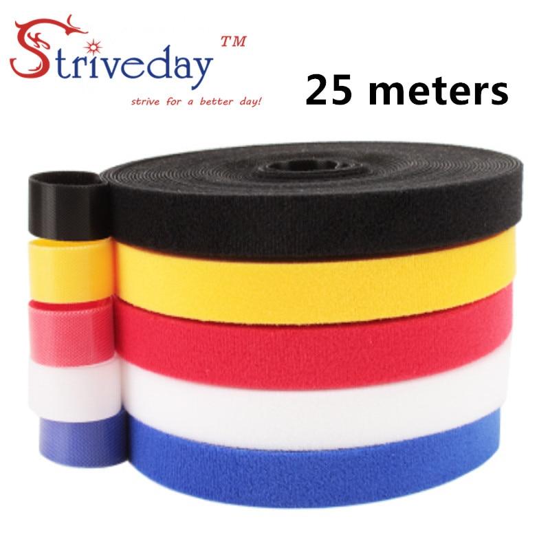 25 metros/rollo de cinta mágica de nylon ataduras de cable de ancho 1cm ataduras de cable auricular enrollador velcroe tie 6 colores elegir