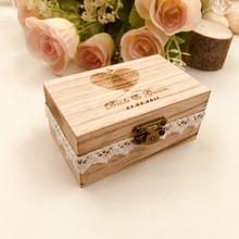 Soporte de caja de anillo de madera de boda rústico personalizado, caja de anillo de fecha y nombres personalizados, caja de anillo del Día de San Valentín de anillo de boda