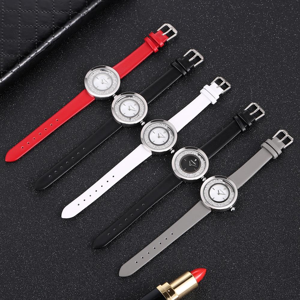 Cagarny Top Brand Fashion Ladies Watches Leather Female Quartz Watch Women Thin Casual Strap Watch Reloj Mujer Shining Crystal enlarge