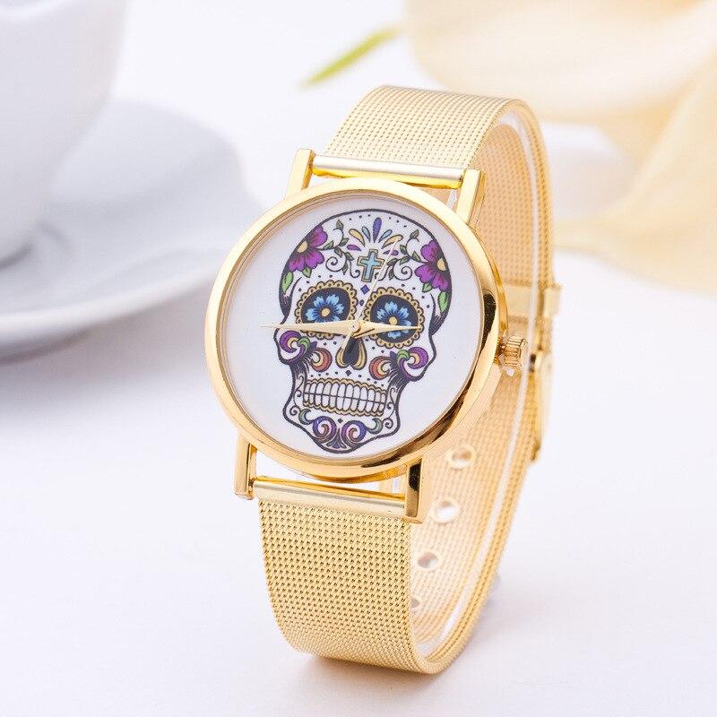 Crânio de Ouro Relógio de Pulso para Mulheres Vestido da Senhora Relógio para Mulheres Moda Alça Quartz Relógio Pulseira Feminino Reloj Mujer Aço