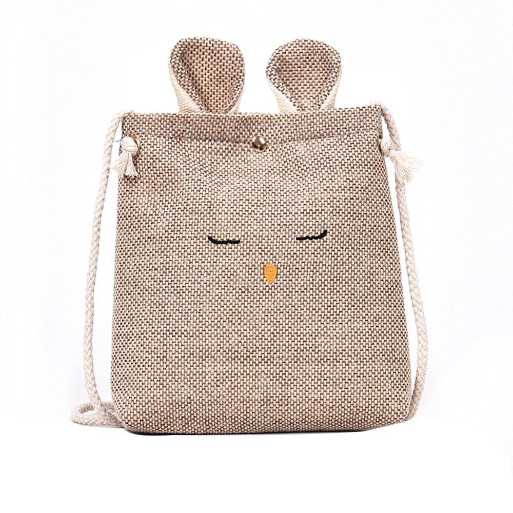 Las mujeres de orejas de gato pequeño bolso cuadrado Simple lindo hombro Crossbody teléfono moneda bolsa cruzada cuerpo bolsos bolsa feminina