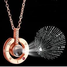 Collier pendentif avec pendentif I love you, or Rose et argent, 100 langues, souvenir de mariage, romantique