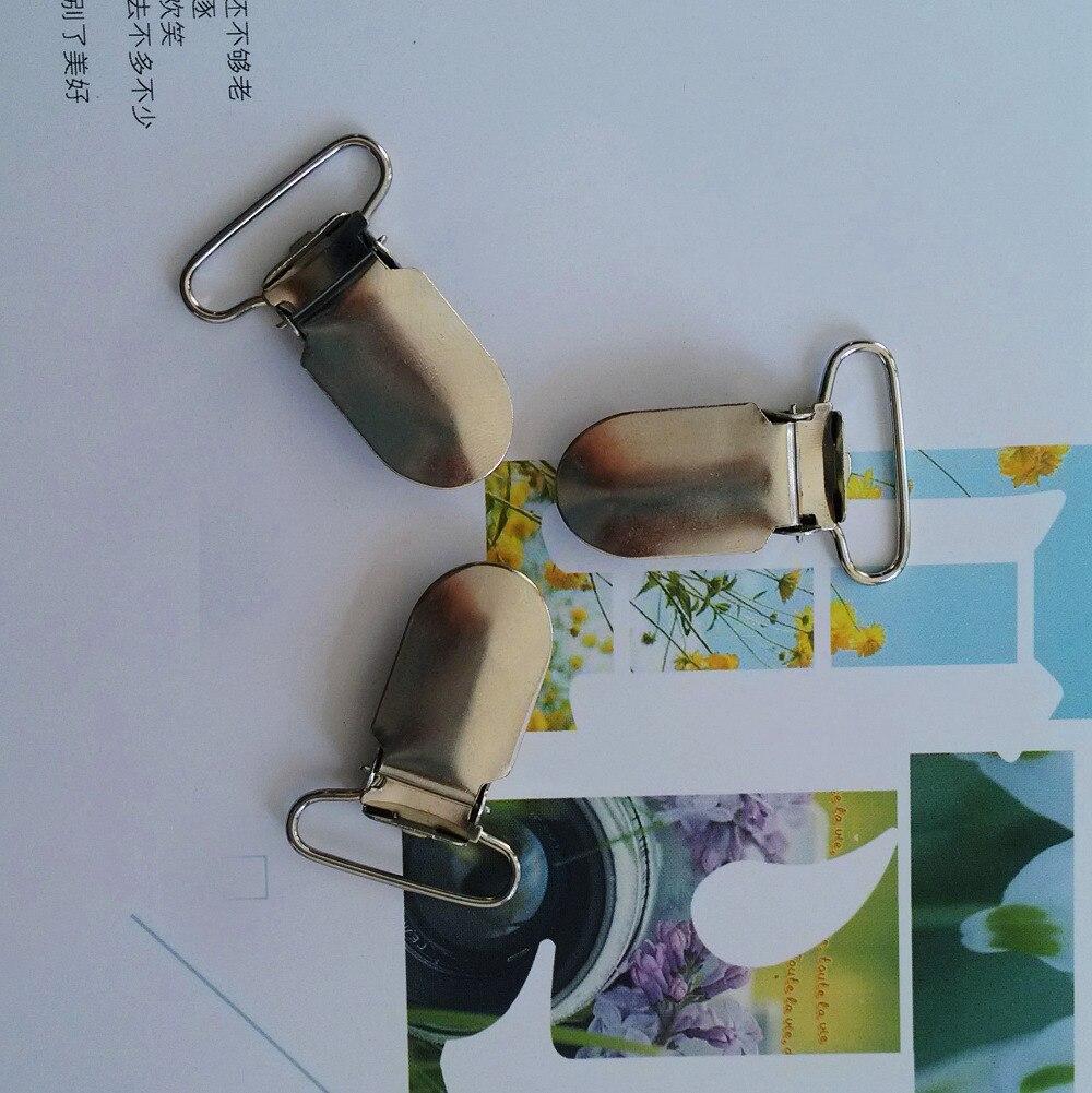 200 Uds 25mm liguero de Metal sin plomo pacificador Clips cinta artesanal herramienta de costura liguero Clip con inserto de plástico