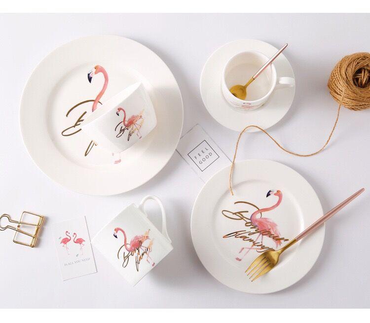 Elegante rosa Flamingo cerámica plato placa vajilla platos vajilla de cerámica, platos para regalo de fiesta platos