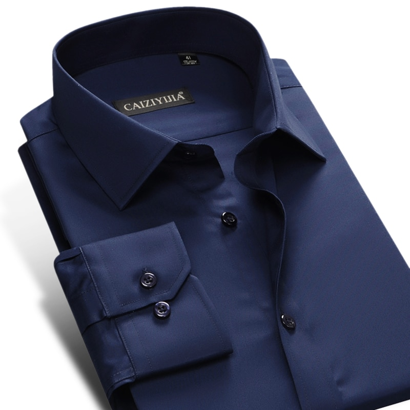 Men's Formal Standard-fit Easy-Care Plain Shirt Dark-blue Long-sleeve Male Business Office Wear Wrinkle-Free Solid Dress Shirts