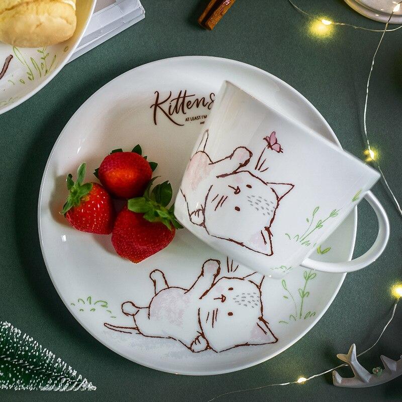 1 plato cerámico para cena con dibujo de gatito, taza para beber, plato para postre con Gato bonito, juego de té de la tarde de 8 pulgadas/450 ml