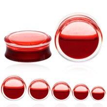 2Pcs/lot Hot Sale Blood Red Liquid Ear Gauges Acrylic Double Flared Ear Flesh Plugs Ear Expander Piercing Unisex Jewelry 8-25mm