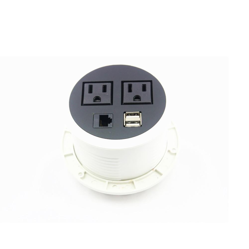 جزءا لا يتجزأ الأثاث شاحن راحة USB مكافحة منافذ المقبس مع 2 الولايات المتحدة التوصيل منافذ و 2 USB منافذ آمنة جروميت المقبس