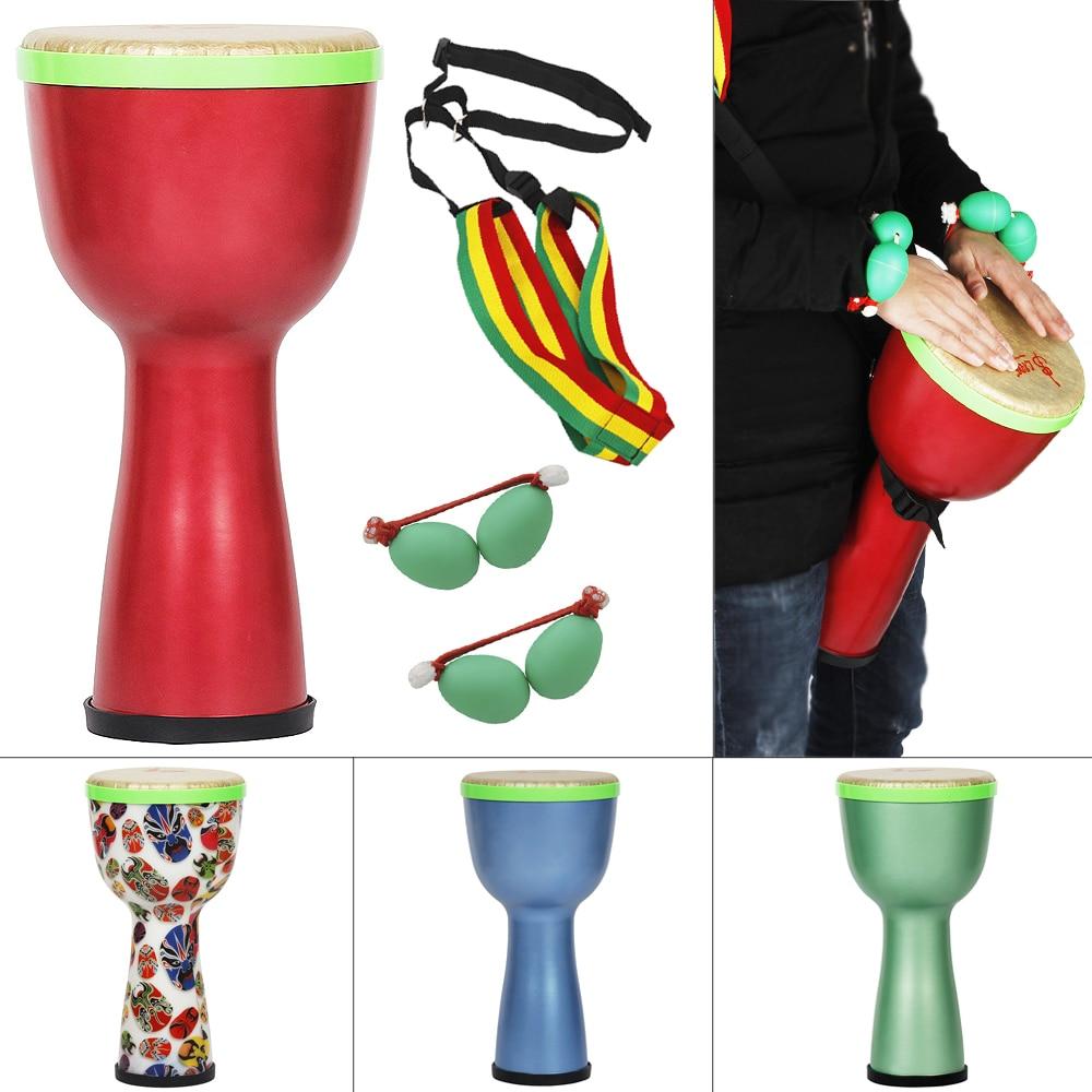 Tambor Africano de 8 pulgadas, Material ABS, diseño ligero, tambor Djembe con huevos agitadores y correa para el hombro