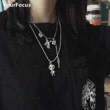 Harajuku gothic hiphop metal ET Alien choker stainless steel colar zipper cute necklace women and men