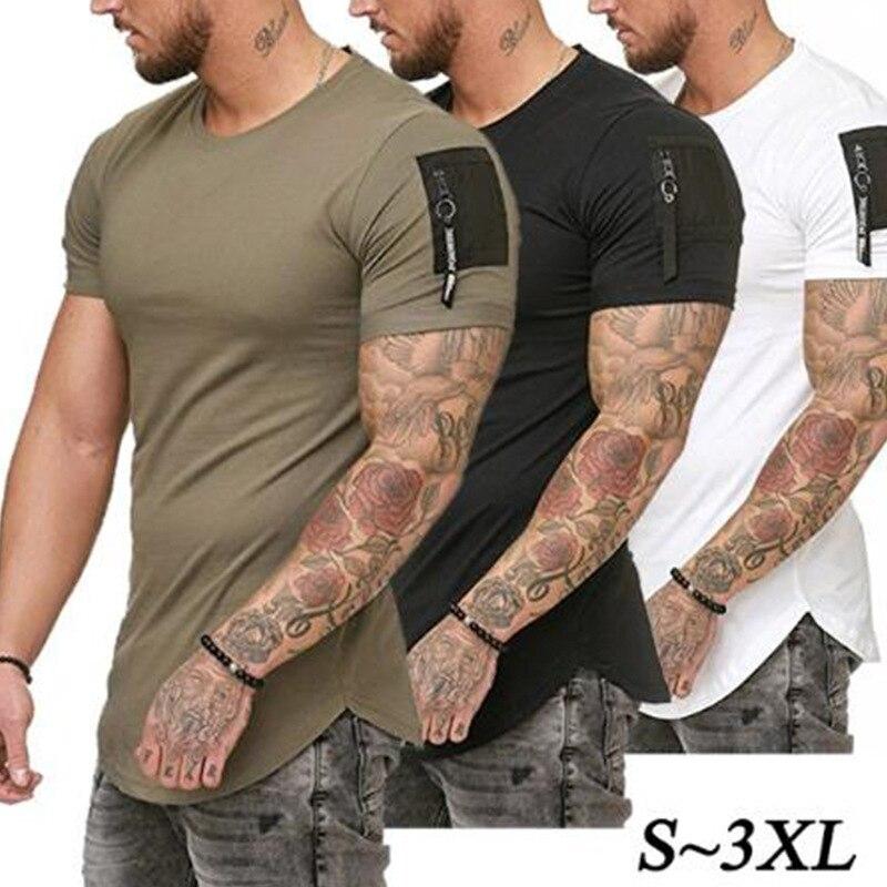 2019 Date Été Casual T Shirt Hommes Mode Zipper manches V neck Hip hop T-Shirt Tops coton T-shirts Hommes T taille M-3XL