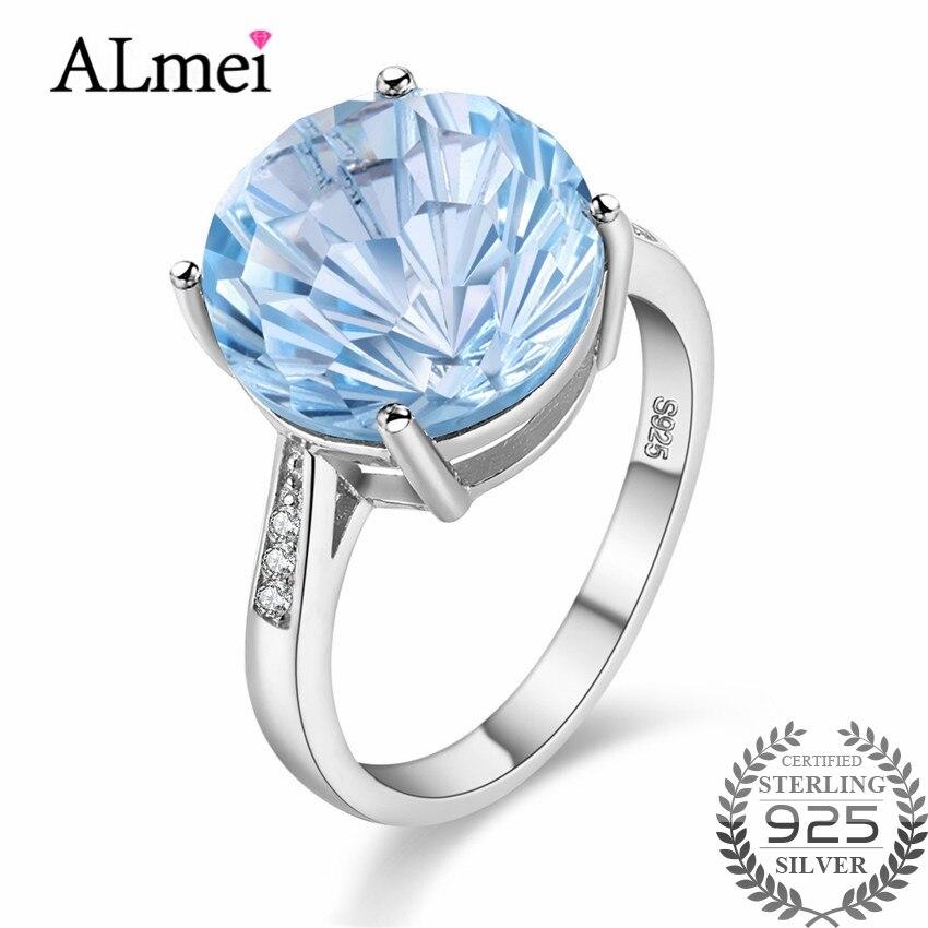 Anillos de Compromiso de plata 925 Almei 6,5 CT Topacio azul Natural gema aguamarina joyería fina para mujeres con caja 40% FJ013