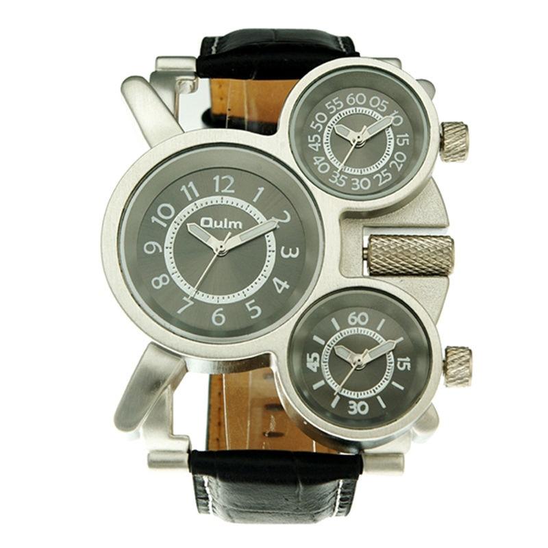 Relógio de pulso esportivo, de couro, com pulseira de quartzo e tamanho grande, marca de luxo, oulm 1167
