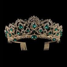 Kmvexo Europese Drop Green Red Crystal Tiara Vintage Gold Rhinestone Pageant Kronen Met Kam Barokke Bruiloft Haar Accessoires