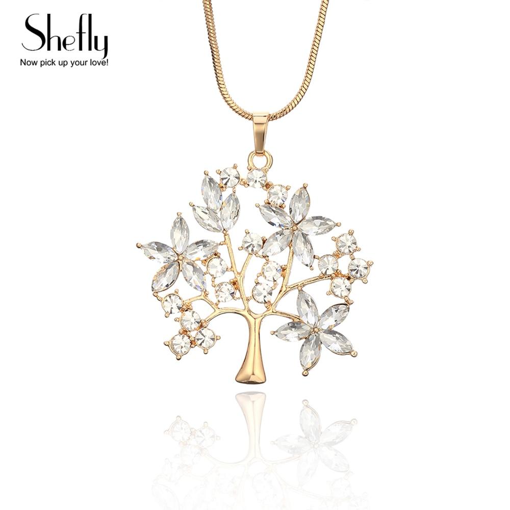 Baum des Lebens Anhänger Silbrig Gold Halskette Für Frau Mit Großen Luxus Kristall Blätter Mode Pullover Kette Lange Halskette Schmuck