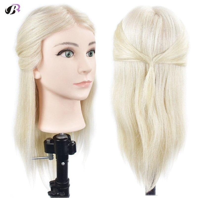 """18 """"grosso 100% real cabeça de treinamento prática do cabelo humano com braçadeira titular salão cabeleireiro manequim cabeça manequim"""