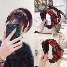 Bandeau avec nœud noué en tissu imprimé pour femmes, accessoires pour cheveux, bandeau bandeau avec nœud, bandeau sport lavage pour filles sauvage