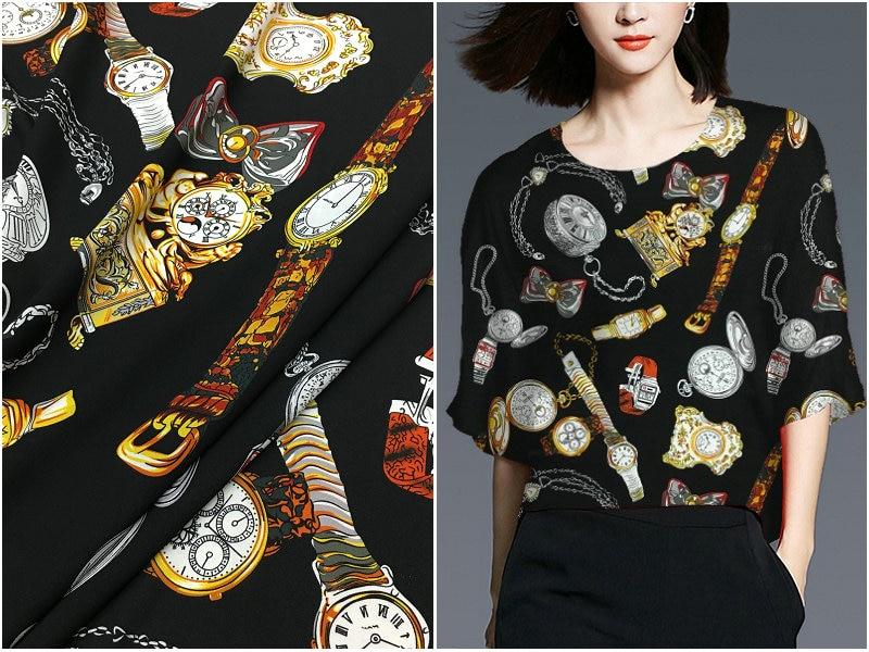 Brand watch printing 140cm wide silk crepe de Chine fabric pure silk dress clothing fabric anti-wrinkle fashion women's clothing