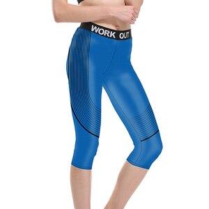 Новый Для женщин Бег Капри спортивный полосатый принт синего, черного, фиолетового цветов, мужские S до 3xl размера плюс юги со специями на талии, комплект со штанами