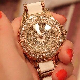 2018 caliente de lujo de las mujeres del cuarzo reloj Rosa reloj de oro y diamante vestido de mujer Relogio femenino saat vacaciones regalo reloj