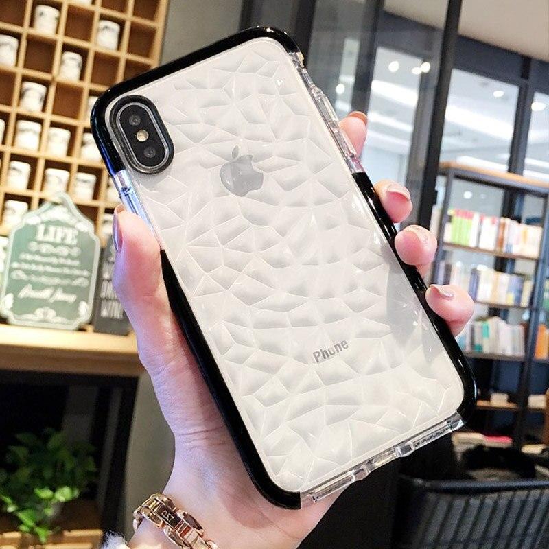 Funda transparente suave 3D con diamantes geométricos para iPhone 7 6X8 6S Plus, fundas del teléfono tapa con sensación de agua rombo transparente