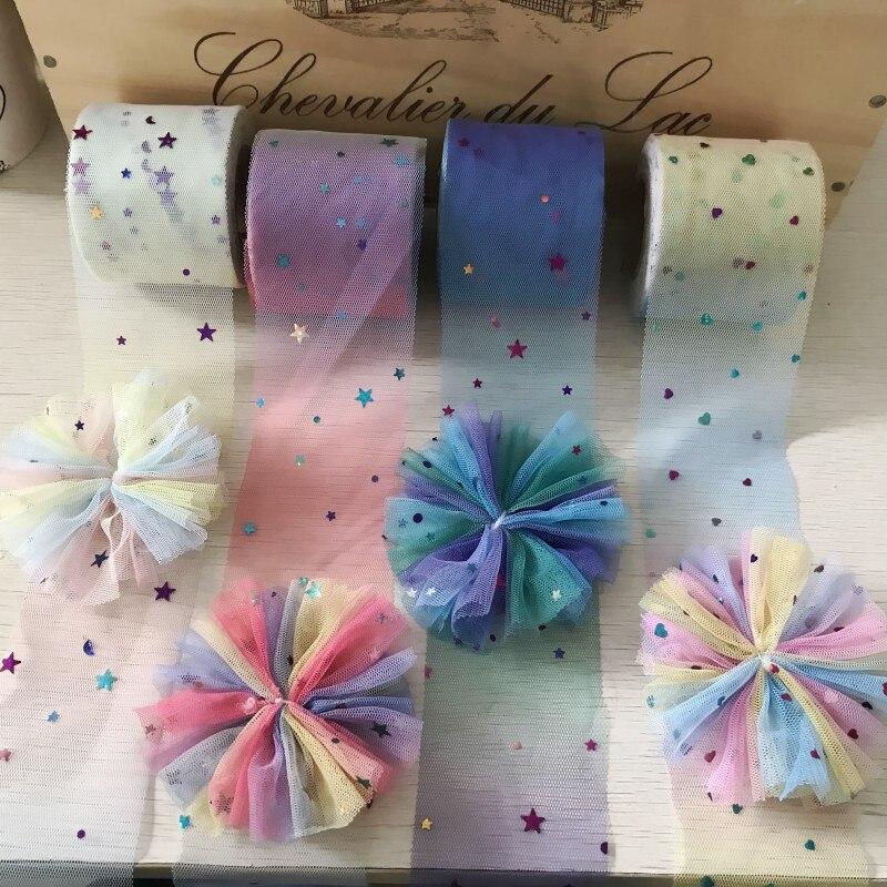 20Yards 6cm Gradual Shine Rainbow Heart Star DIY Handmade Hair Jewelry Material Accessories ribbon grosgrain  printed ribbon