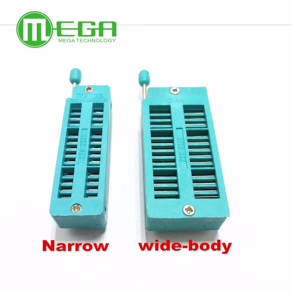"Green 28 Pin IC Universal ZIF Socket IC Test Tester 0.3"" narrow body  wide body"