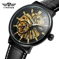 T-להקת גברים שעונים הקלאסי זוכה אוטומטי עצמי רוח שלד אנלוגי רצועת עור אמיתי באיכות גבוהה שעוני יד WRG8126M3