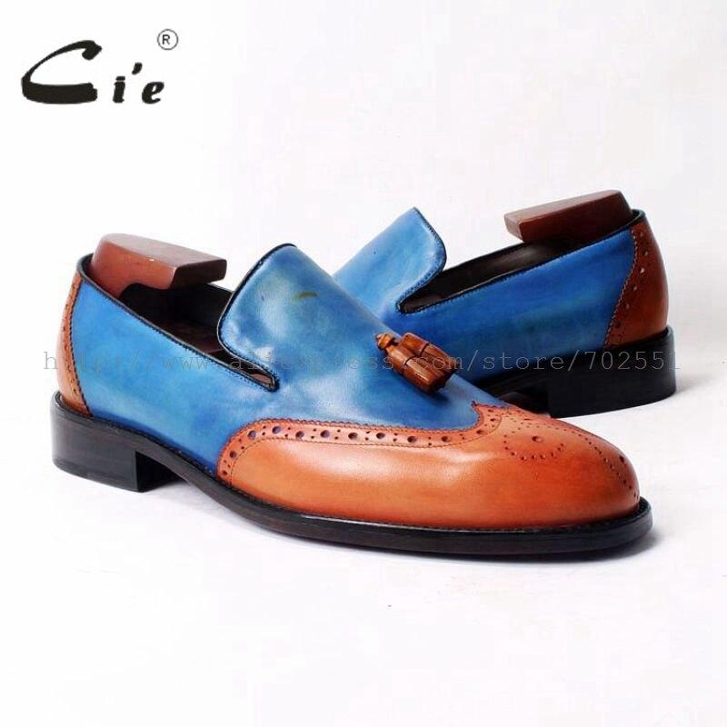 Бесплатная доставка cie, индивидуальный дизайн, круглый носок, клей, ручная работа, кисточка, без застежек, Повседневная телячья кожа, оранжевый/синий кожаные мужские туфли, лоферы 52