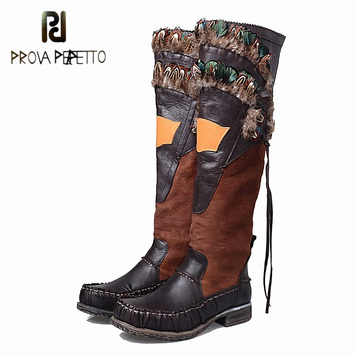 Prova Perfetto Applique Design Feder Lange Stiefel Dicke Bottom Hübscher Indischen Stil Zipper Seite Echtem Leder Ritter Stiefel