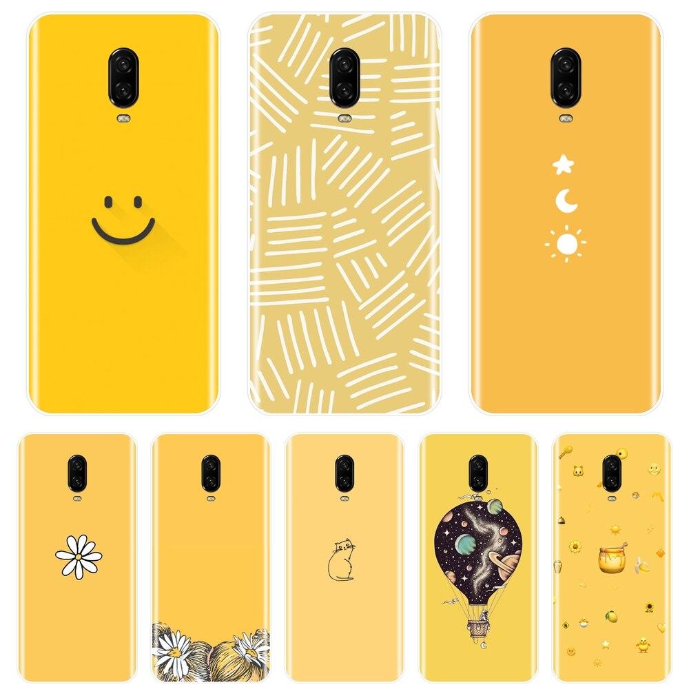 Задняя крышка для One Plus 6 6T 5T 5T 3T желтая кошка девочка Звезда Луна космическая улыбка Мягкий силиконовый чехол для телефона для OnePlus 6T 6T 5T 3T