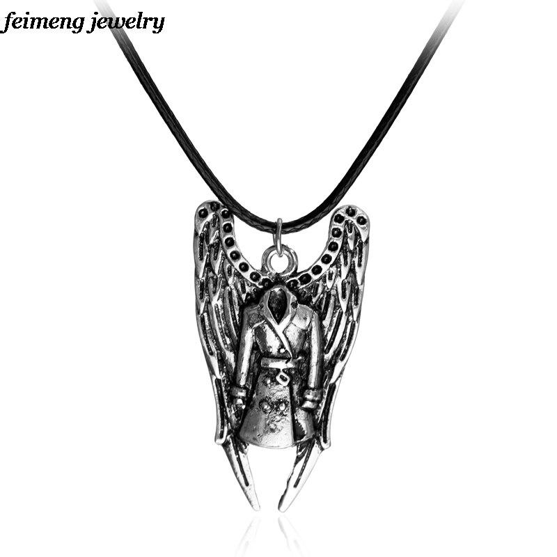 Мужское ожерелье-Тренч, из натуральной кожи с крыльями