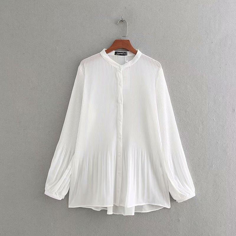 Nueva Blusa plisada de gasa de manga larga a la moda para mujer, blusas informales de negocios con cuello redondo, blusas chemise LS3359