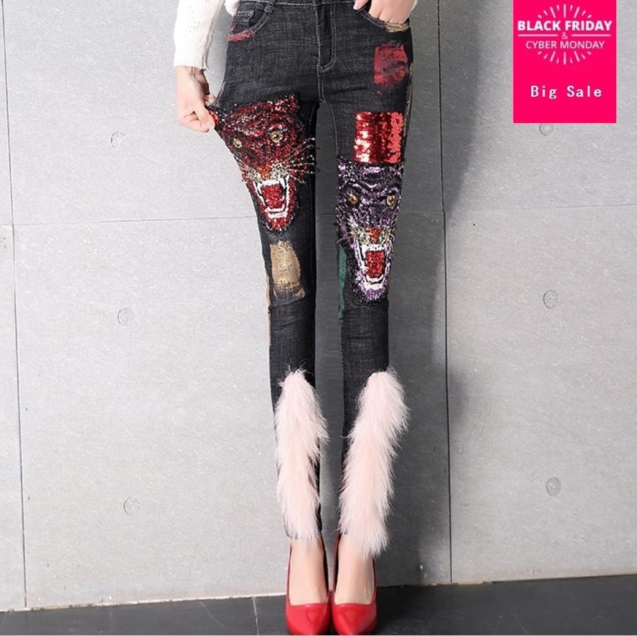 Europe Style Women Jeans 2019 Spring Fashion Tigers Sequins Cowboy Denim Pants fashion  Trousers