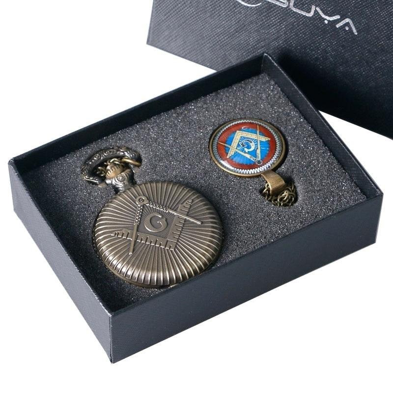 Антикварные Бронзовые масонские кварцевые часы, трендовые карманные часы с подвеской для Freemasons