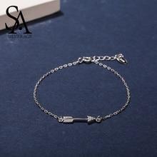 SA SILVERAGE 925 En Argent Sterling Bracelets Porte-Bonheur Et Bracelets Pour les femmes Bijoux Cupidon Flèche Bracelet jonc Argent Pulseiras