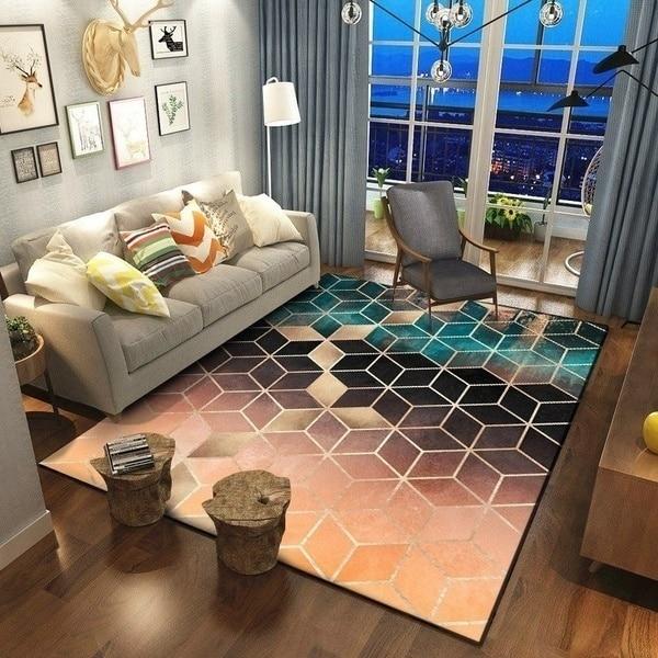 Розовое золото розовый/зеленый современный ковер с геометрическим узором скандинавский простой журнальный столик коврик для гостиной спа...