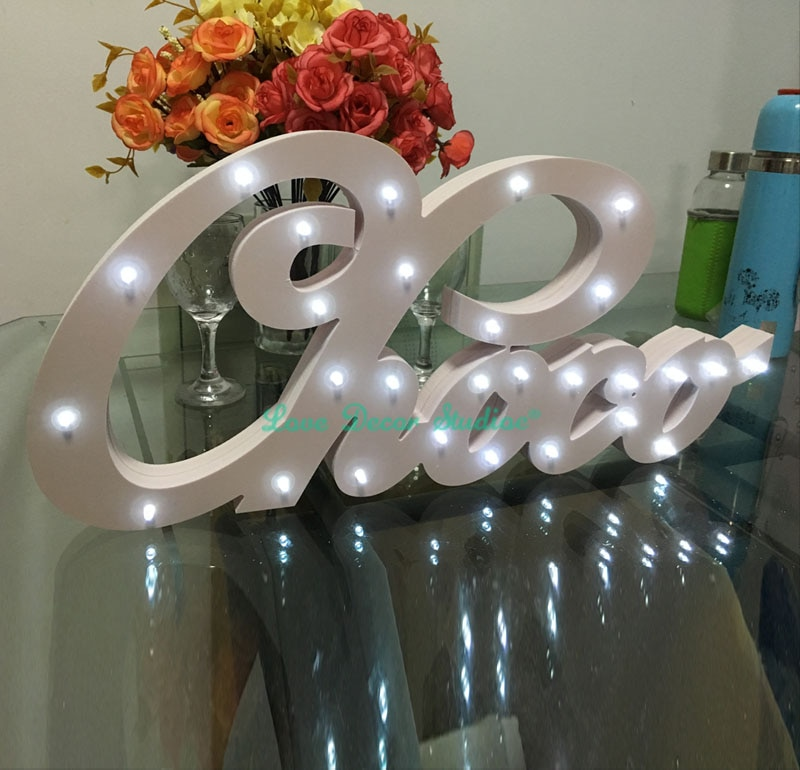 Lettres lumineuses de luxe blanches sur mesure   Cadeau de luxe sur mesure, avec nom et nom danniversaire, éclairage sur mesure, décoration de chambre à coucher