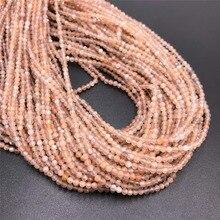Natürliche Orange Mondstein Micro-Faceted Perlen 2 mm 3 mm Tiny Mineral Quarz Edelstein Stein Perlen Für DIY Schmuck halskette & Armbänder