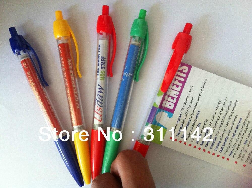 Stylo de drapeau de publicité faite sur commande de stylo de bannière dusine avec le stylo de tirage de papier de roulement