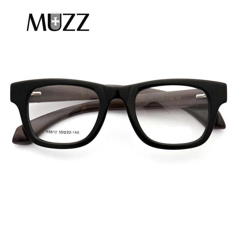 MUZZ Wood Grain Retro  Male Optical Men Glasses Clear Acetate Glasses Frames prescription Eyeglasses Frame
