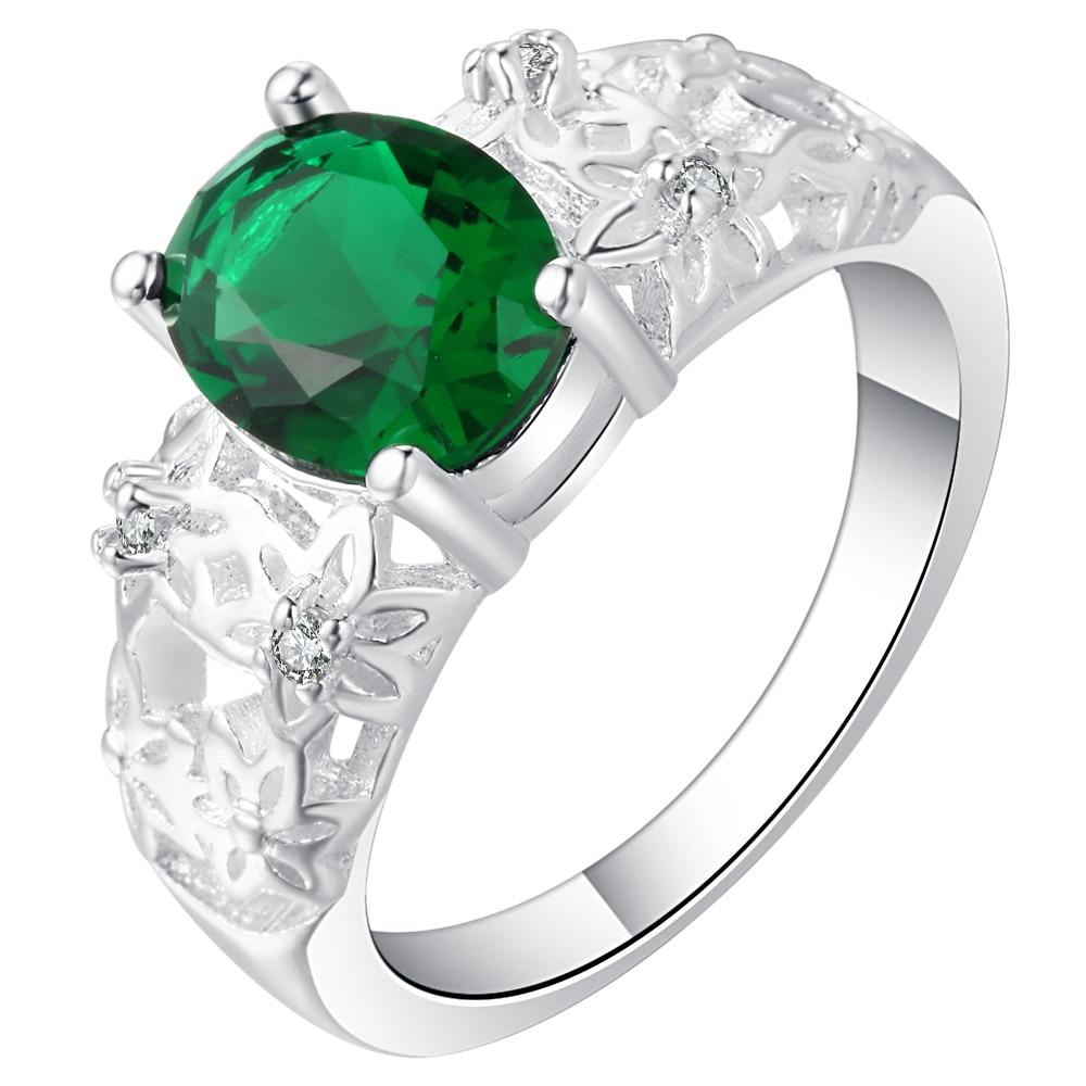 Anillo de circón cúbico Hainon a la moda de Color plateado con huecos, verde, azul, blanco, rojo, anillo de circón cúbico para mujeres, anillos de compromiso de boda Vintage