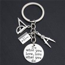 1pc faire ce que vous aimez bijoux enseignant porte-clés Studant porte-clés règle crayon boussole breloques pour cadeau E2038