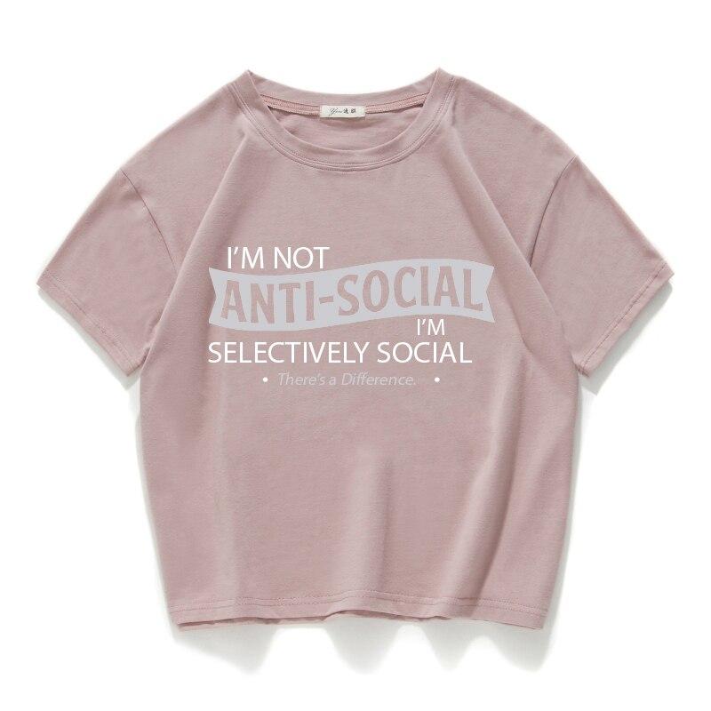 Женская футболка I am not anti-social, Повседневная футболка из 100% хлопка, универсальная летняя уличная одежда